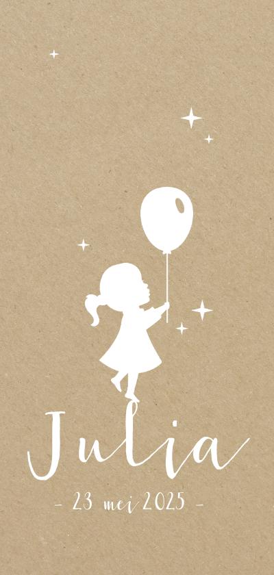 Geboortekaartjes - Geboortekaartje silhouet van ballon en meisje