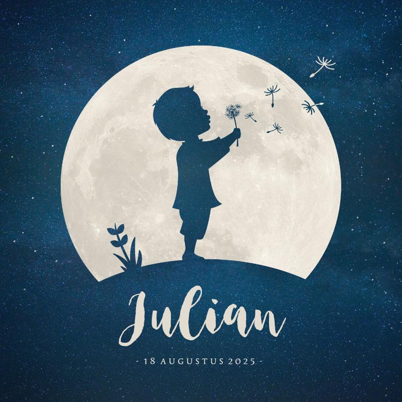 Geboortekaartjes - Geboortekaartje silhouet van jongen met paardebloem in maan