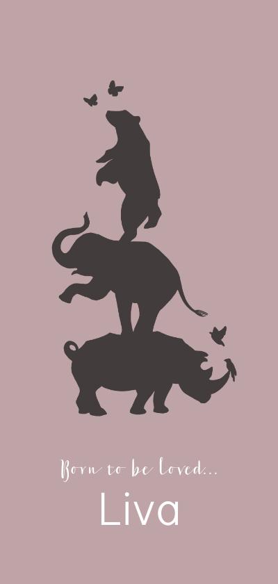 Geboortekaartjes - Geboortekaartje silhouet van neushoorn, olifant en beer