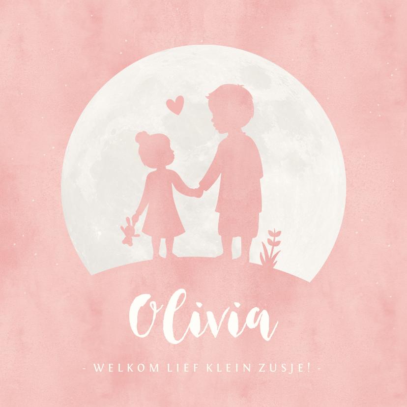 Geboortekaartjes - Geboortekaartje silhouet zusje hand in hand met grote broer