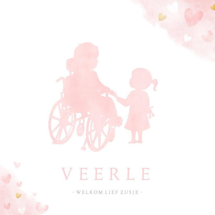 Geboortekaartjes - Geboortekaartje silhouet zusje met broer in rolstoel
