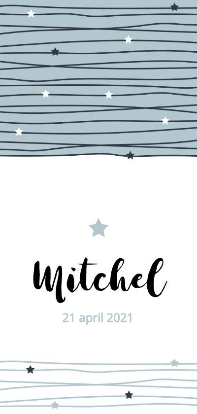 Geboortekaartjes - Geboortekaartje Slordige lijnen met sterren
