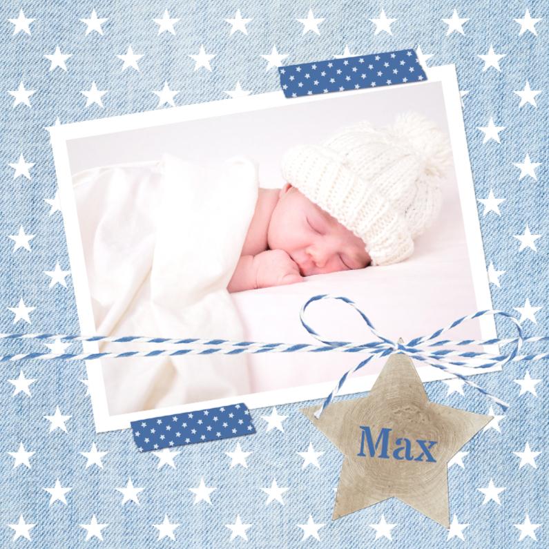 Geboortekaartjes - Geboortekaartje Spijkerstof Max