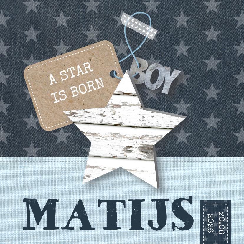Geboortekaartjes - Geboortekaartje Stars Blue Boy