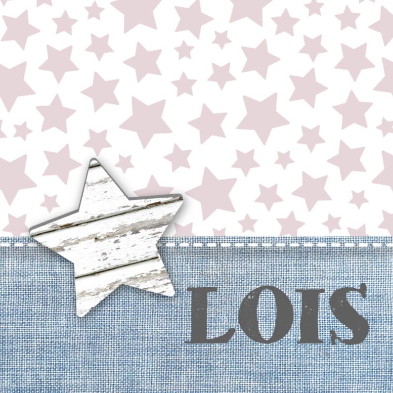 Geboortekaartjes - Geboortekaartje Stars&Jeans Roze