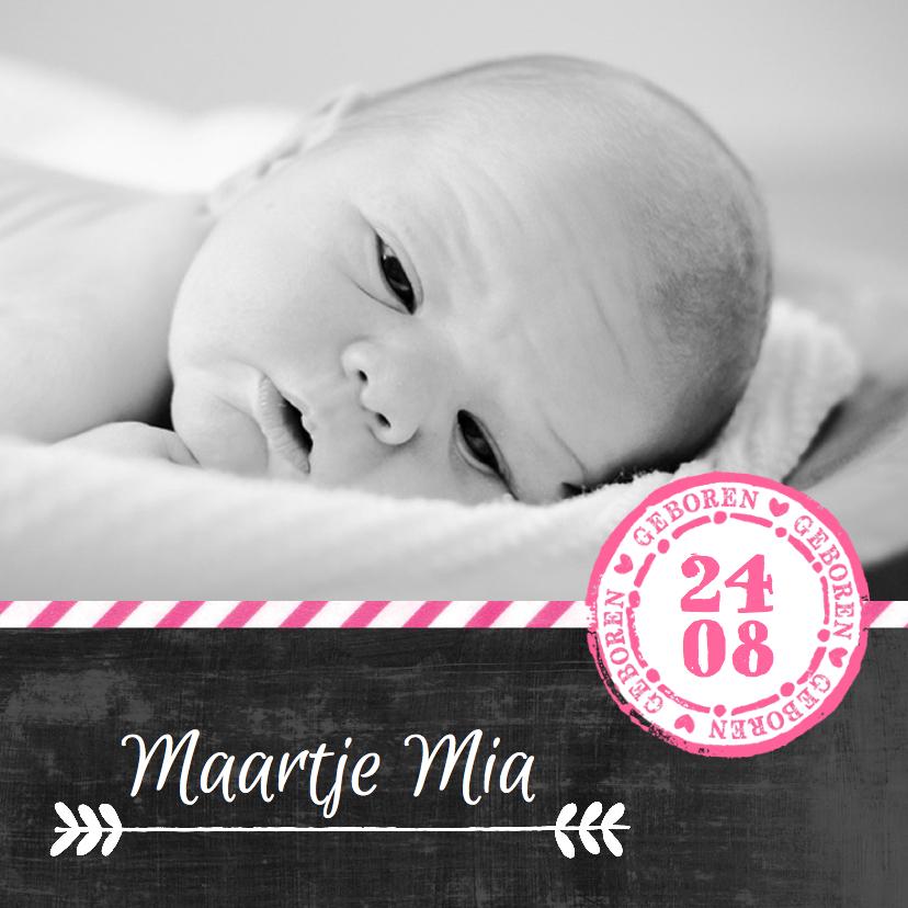 Geboortekaartjes - Geboortekaartje stempel roze