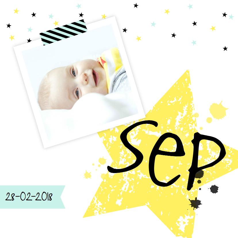 Geboortekaartjes - Geboortekaartje ster geel foto