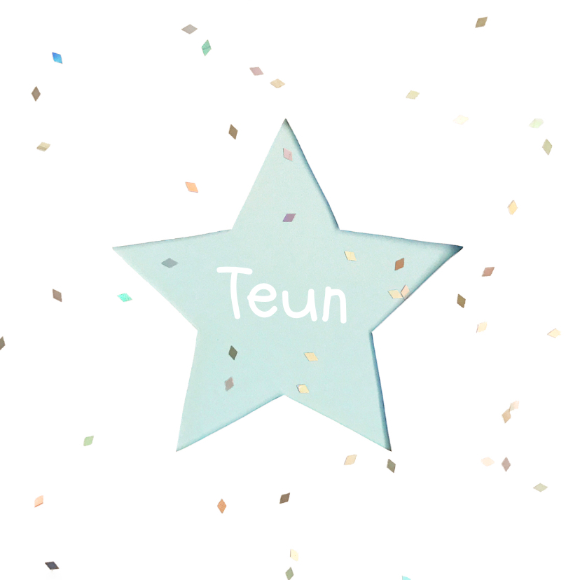 Geboortekaartjes - Geboortekaartje ster pastel boy