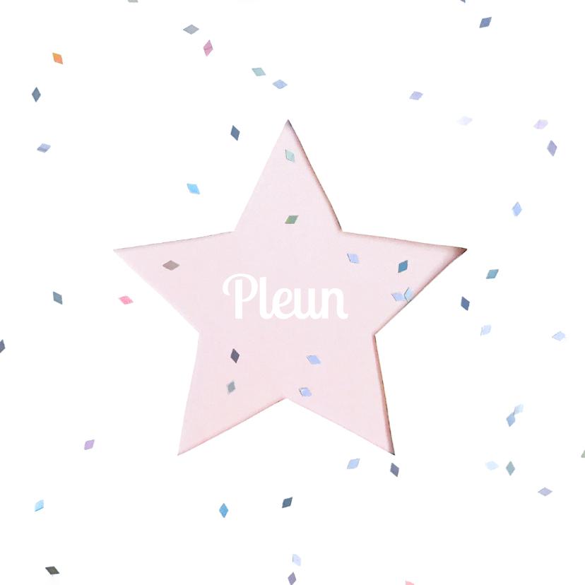 Geboortekaartjes - Geboortekaartje ster pastel girl