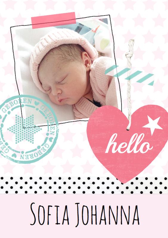 Geboortekaartjes - Geboortekaartje sterren hip lief