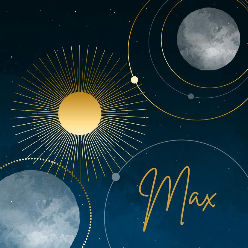 Geboortekaartjes - Geboortekaartje sterren maan planeten goudlook jongen