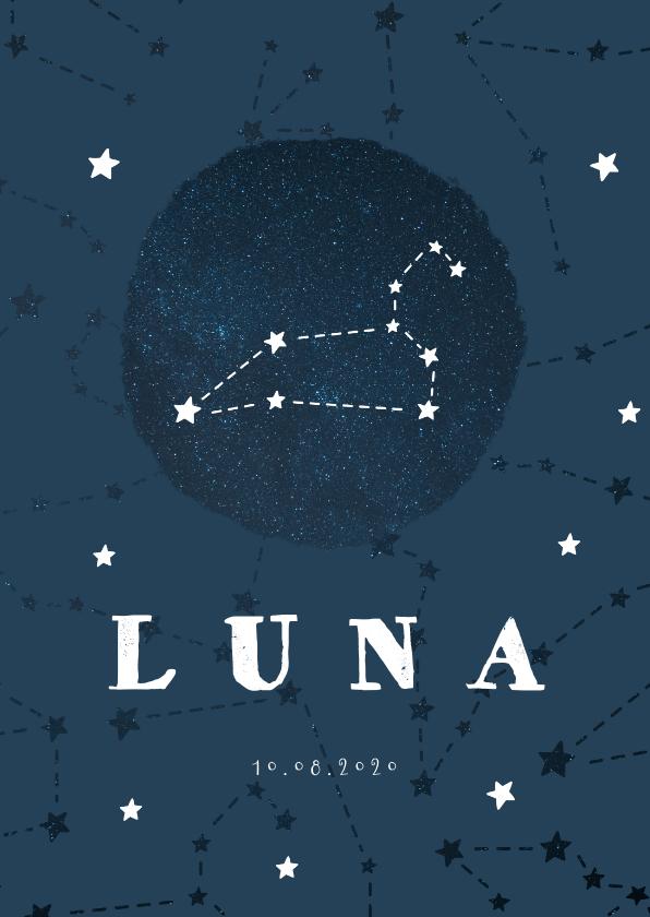 Geboortekaartjes - Geboortekaartje sterrenbeeld leeuw universum