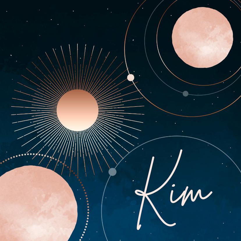 Geboortekaartjes - Geboortekaartje sterrenhemel maan en planeten meisje
