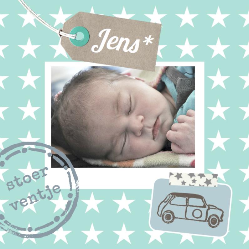Geboortekaartjes - Geboortekaartje stoer boy scrap