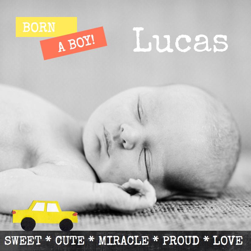 Geboortekaartjes - Geboortekaartje stoer en trendy