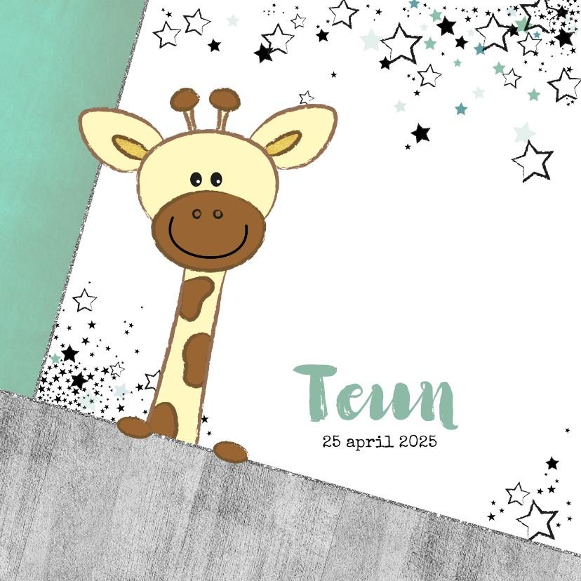 Geboortekaartjes - Geboortekaartje stoer kaartje met giraffe en sterren