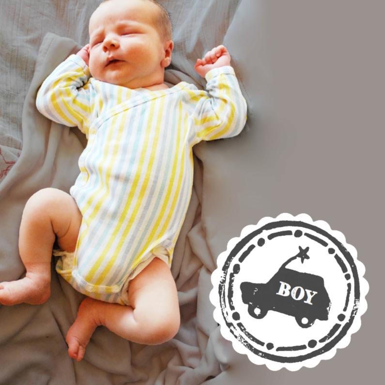 Geboortekaartjes - Geboortekaartje stoer stamp boy