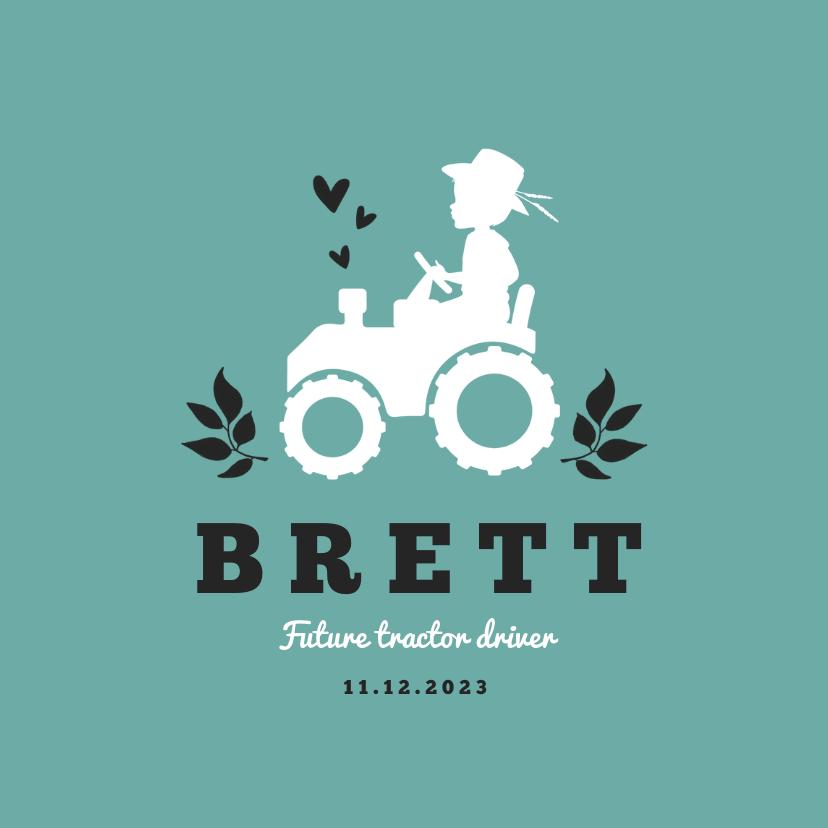 Geboortekaartjes - Geboortekaartje stoer tractor silhouet