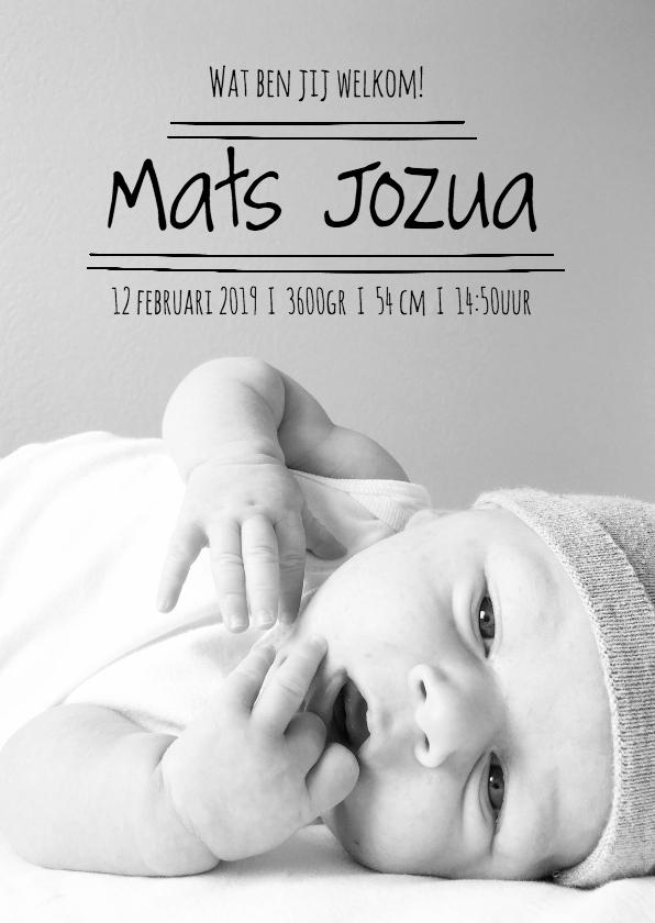 Geboortekaartjes - Geboortekaartje stoere fotokaart - Zo Joann