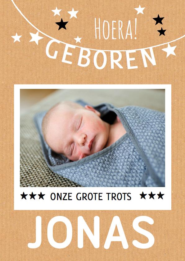 Geboortekaartjes - Geboortekaartje strak karton boy