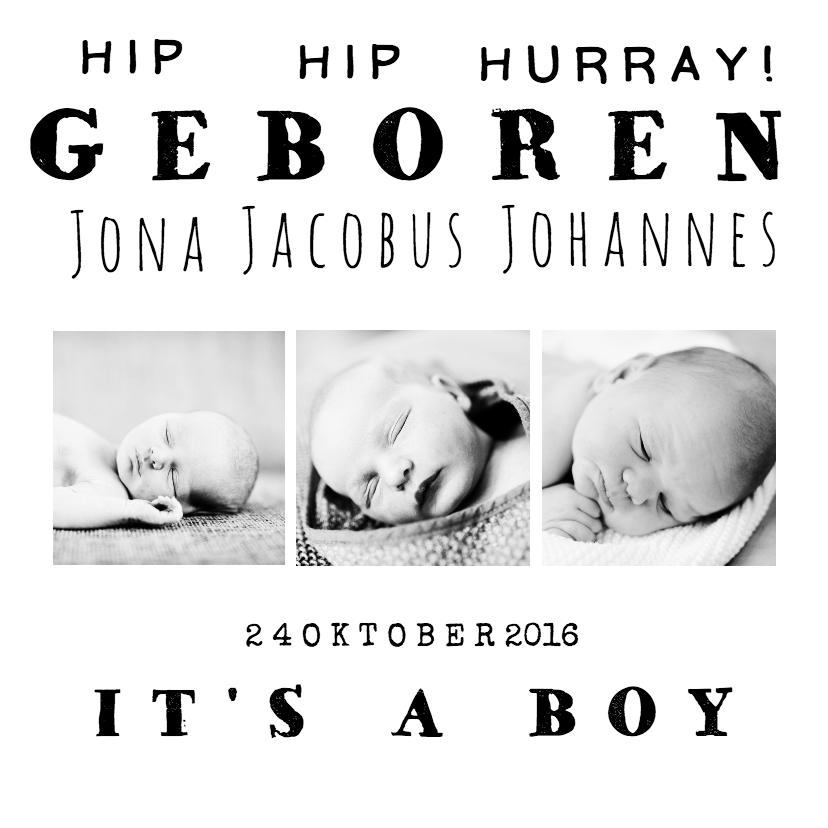 Geboortekaartjes - Geboortekaartje strak zwart wit