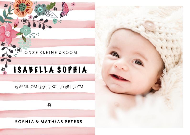 Geboortekaartjes - Geboortekaartje Strepen Verf