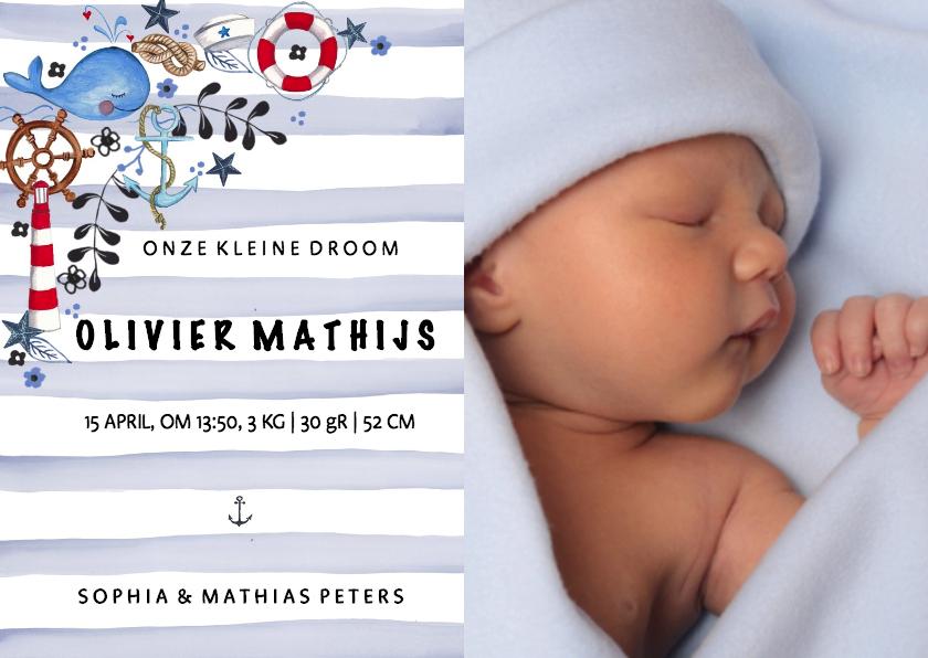 Geboortekaartjes - Geboortekaartje Strepen Zeilen