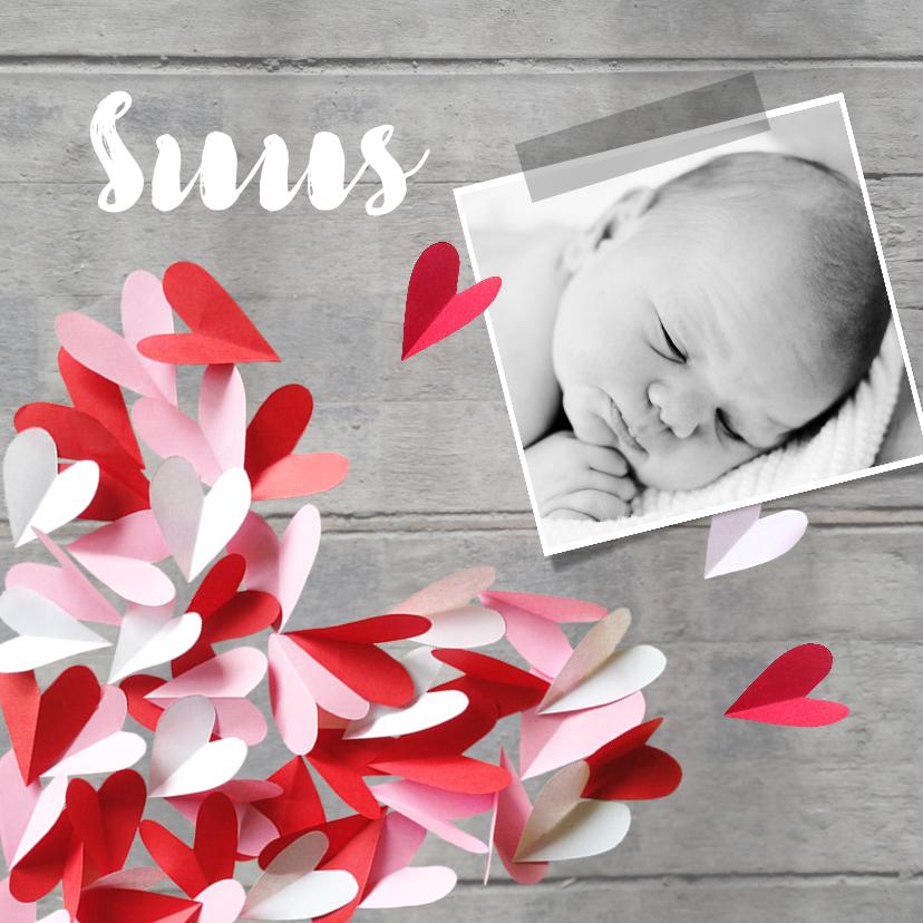 Geboortekaartjes - Geboortekaartje hout hartjes roze rood meisje