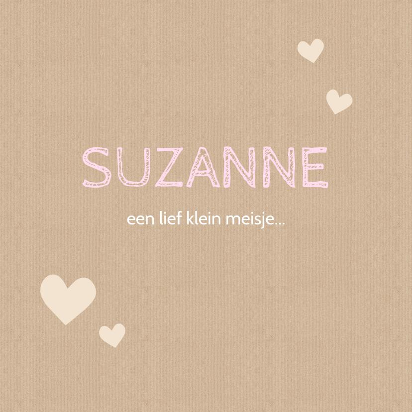 Geboortekaartjes - Geboortekaartje Suzanne papier