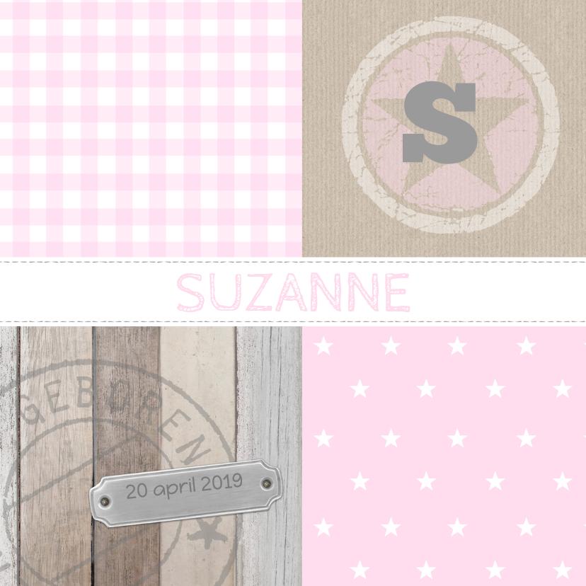 Geboortekaartjes - Geboortekaartje Suzanne patch