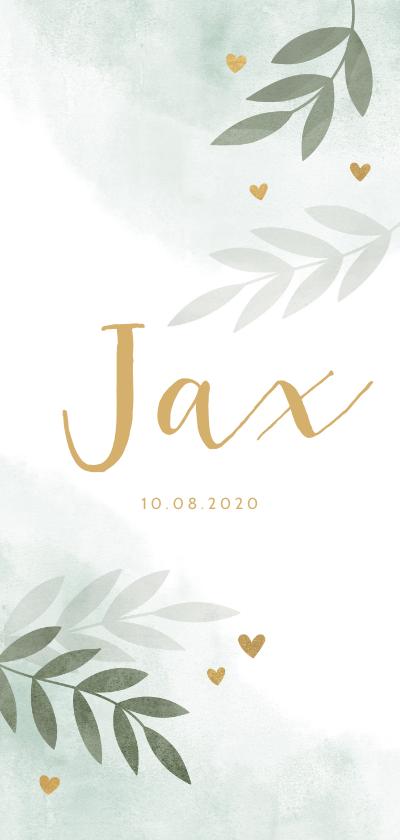 Geboortekaartjes - Geboortekaartje takjes gouden hartjes waterverf mintgroen
