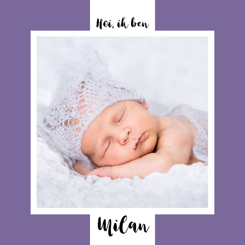 Geboortekaartjes - Geboortekaartje tekst en achtergrondkleur aanpasbaar - OT