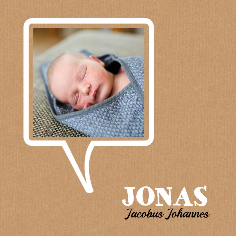 Geboortekaartjes - Geboortekaartje tekstwolk hip