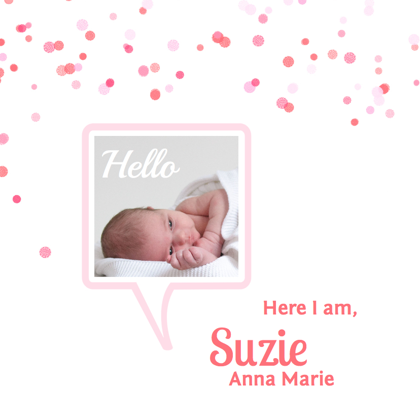 Geboortekaartjes - Geboortekaartje tekstwolk roze