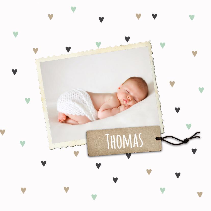 Geboortekaartjes - Geboortekaartje Thomas hartjes