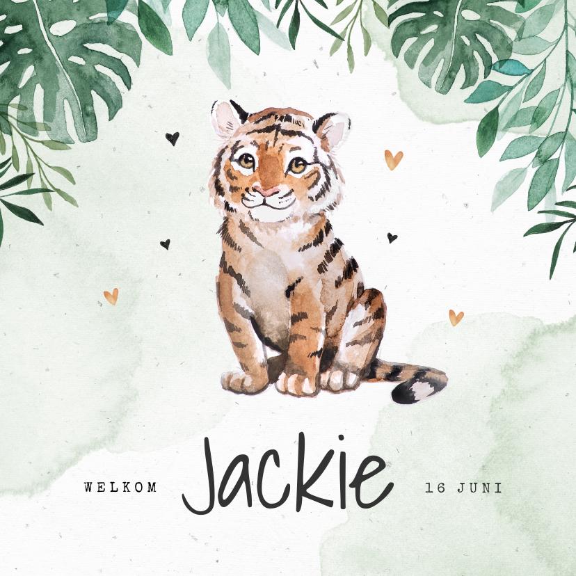 Geboortekaartjes - Geboortekaartje tijger jungle botanisch waterverf