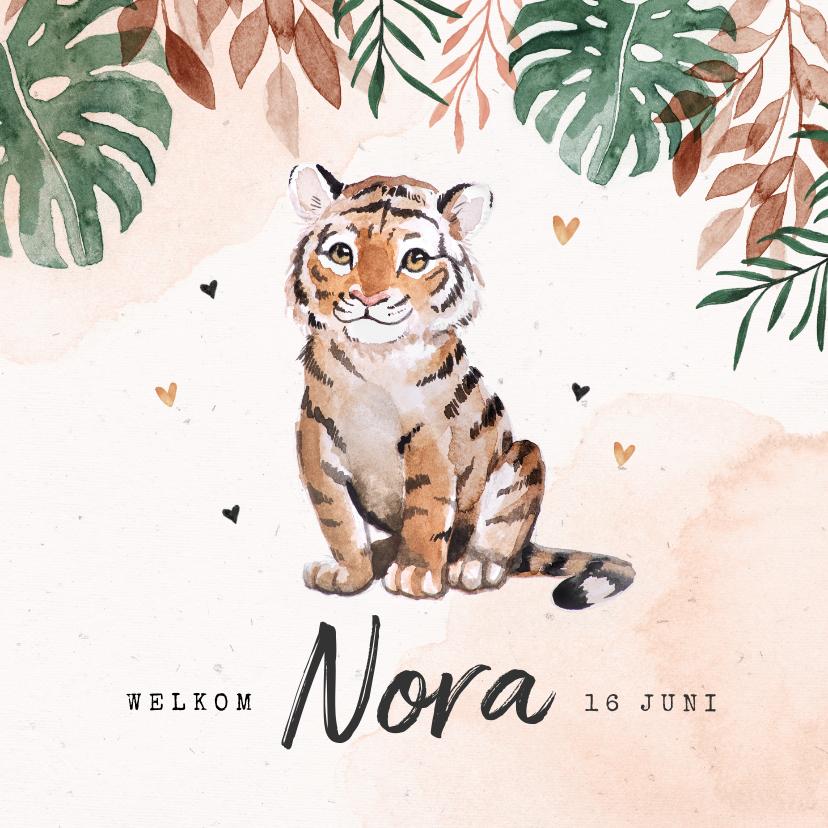 Geboortekaartjes - Geboortekaartje tijger jungle hartjes waterverf meisje