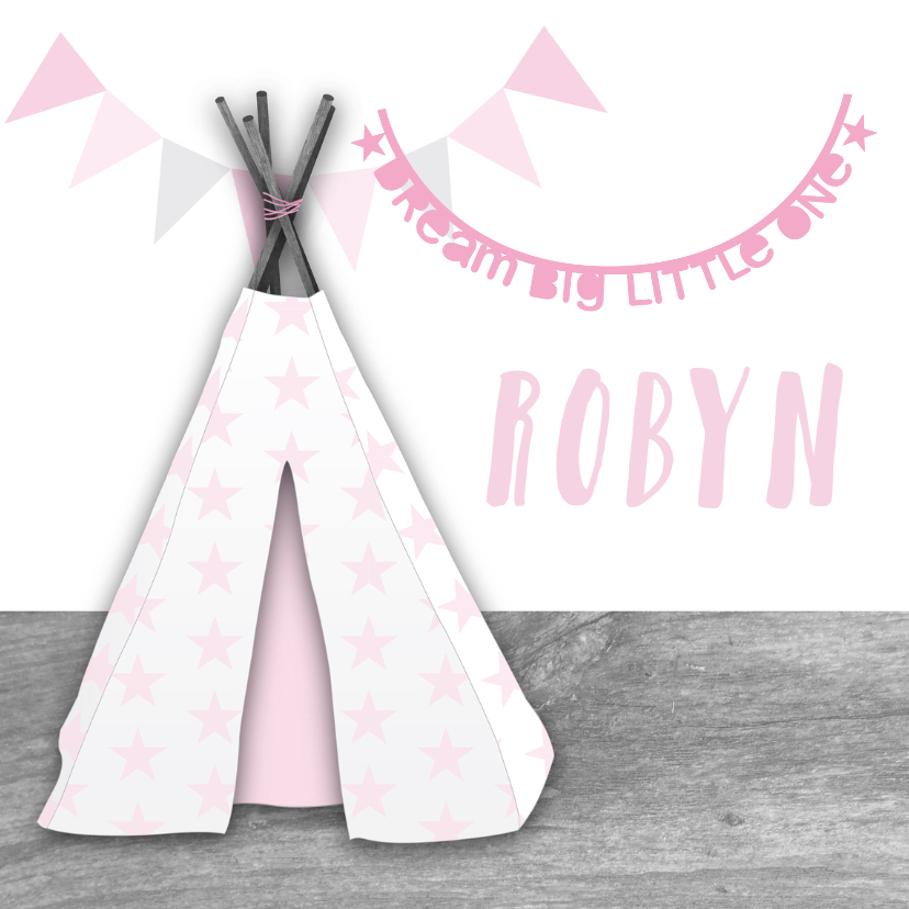 Geboortekaartjes - Geboortekaartje tipi slingers sterren meisje
