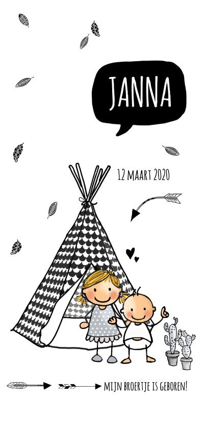Geboortekaartjes - Geboortekaartje tipi tent zusje met baby