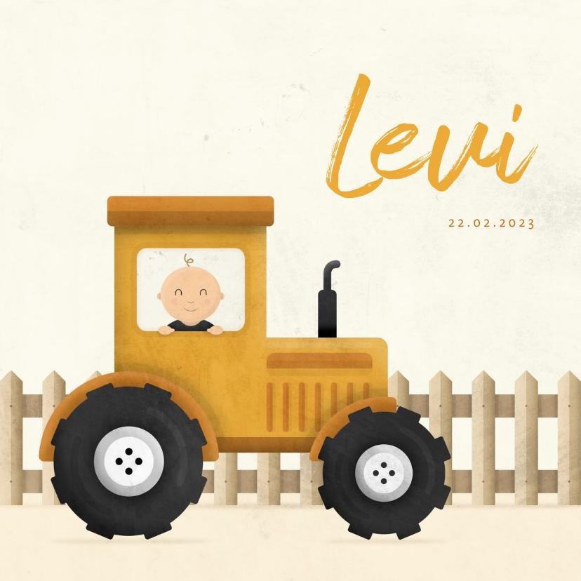 Geboortekaartjes - Geboortekaartje tractor met baby en hekje