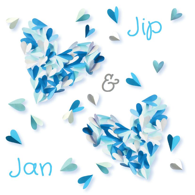 Geboortekaartjes - Geboortekaartje tweeling blauw