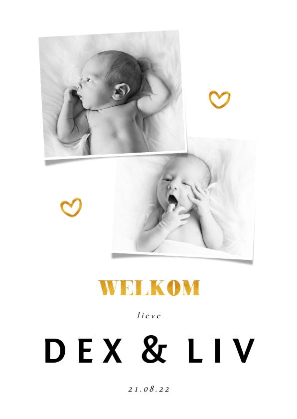 Geboortekaartjes - Geboortekaartje tweeling foto's gouden accenten en staand