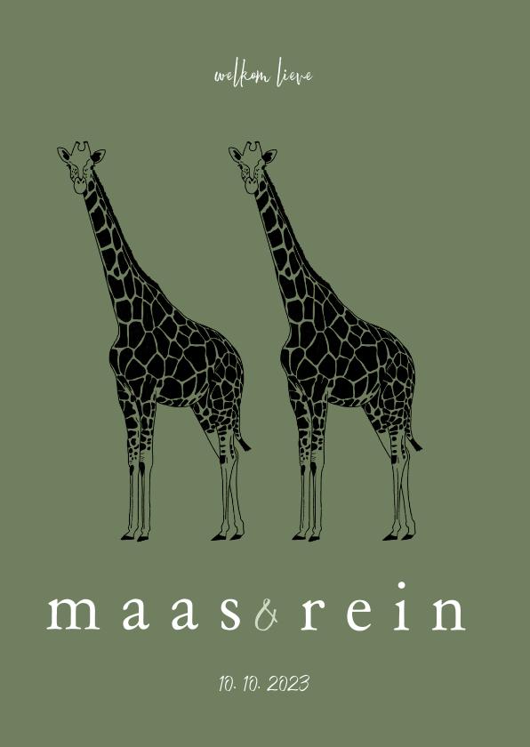 Geboortekaartjes - Geboortekaartje tweeling giraffen lijntekening