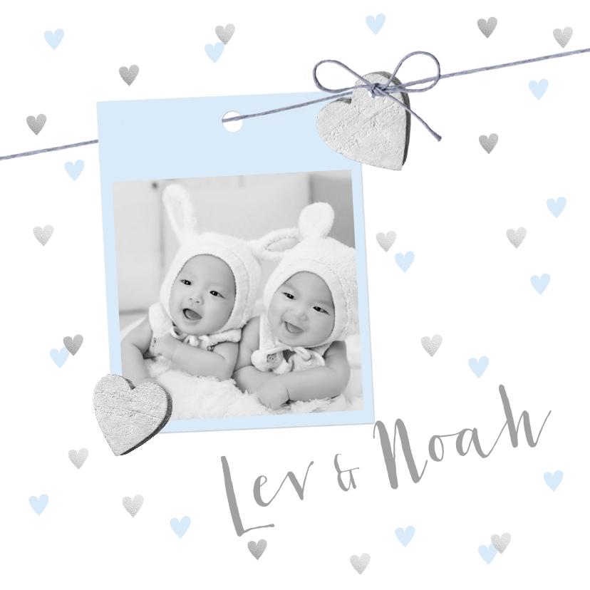 Geboortekaartjes - Geboortekaartje tweeling hartjes en foto lichtblauw