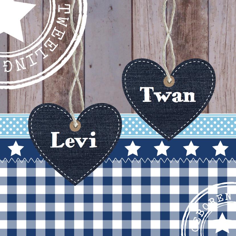 Geboortekaartjes - Geboortekaartje tweeling jongens hartjes - LB