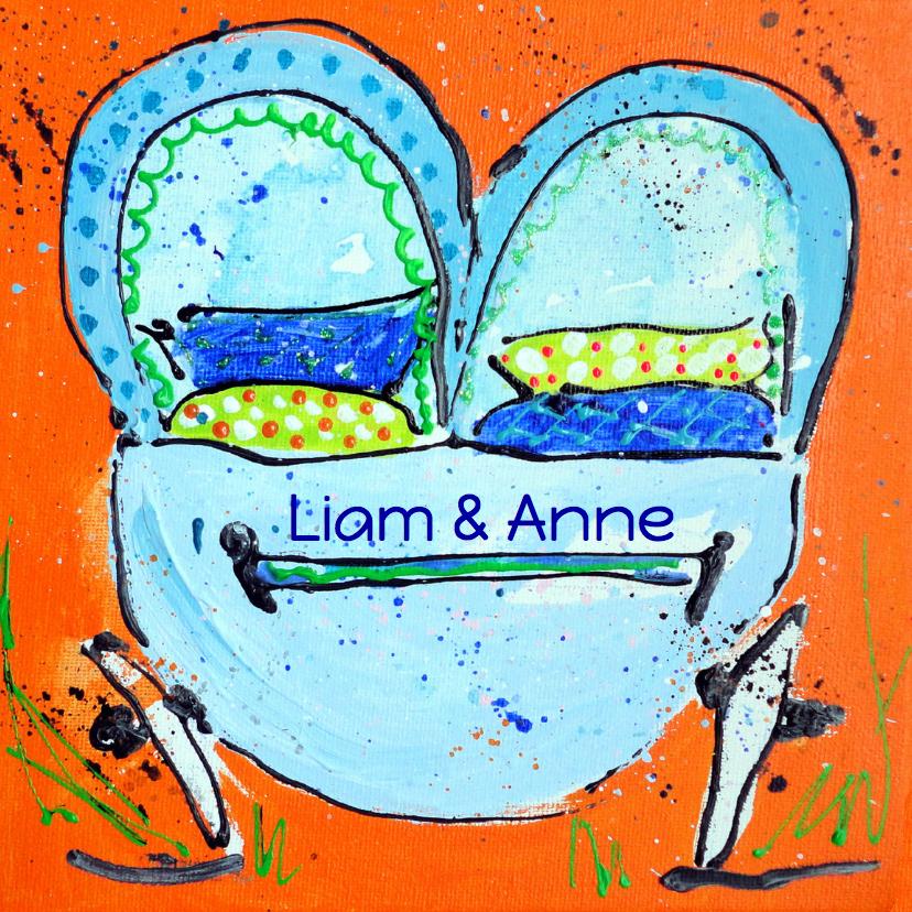Geboortekaartjes - Geboortekaartje tweeling kinderwagen
