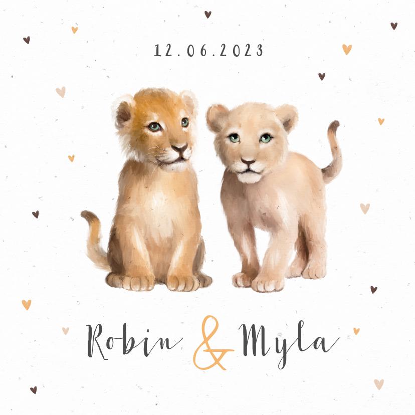Geboortekaartjes - Geboortekaartje tweeling leeuw hartjes