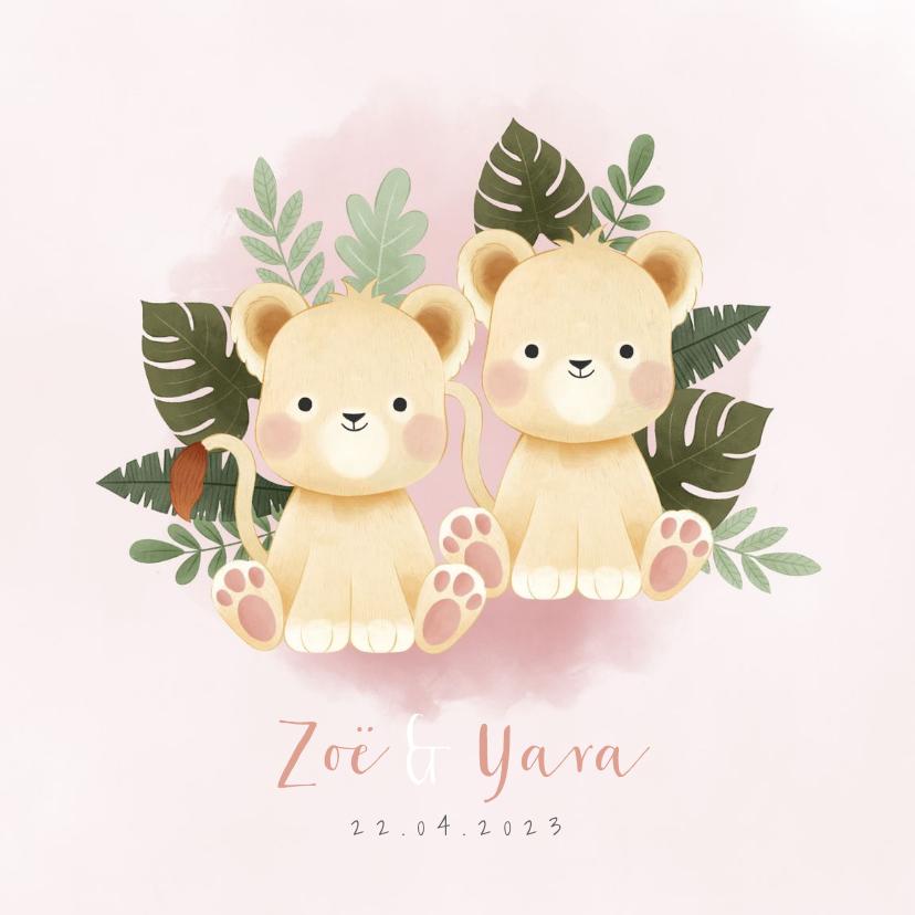 Geboortekaartjes - Geboortekaartje tweeling meisje leeuwtjes en junglebladeren
