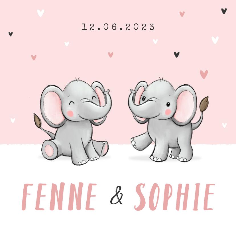Geboortekaartjes - Geboortekaartje tweeling meisje oilifantjes hartjes roze