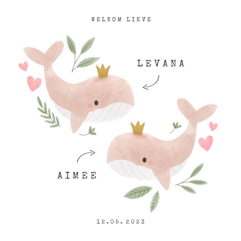 Geboortekaartjes - Geboortekaartje tweeling meisje walvisjes en hartjes